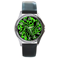 Green and black Round Metal Watch