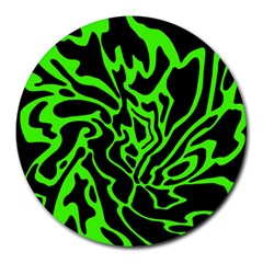 Green and black Round Mousepads