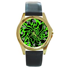 Green and black Round Gold Metal Watch