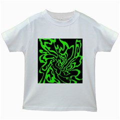 Green and black Kids White T-Shirts