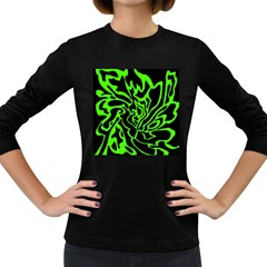 Green and black Women s Long Sleeve Dark T-Shirts