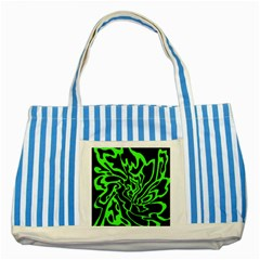 Green and black Striped Blue Tote Bag