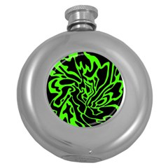 Green and black Round Hip Flask (5 oz)