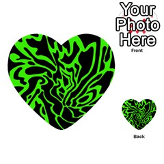 Green and black Multi-purpose Cards (Heart)