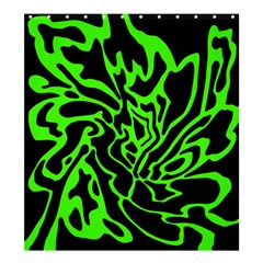 Green and black Shower Curtain 66  x 72  (Large)