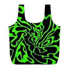 Green and black Full Print Recycle Bags (L)