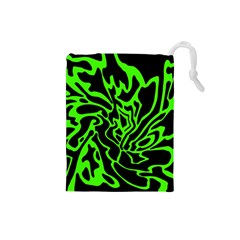 Green and black Drawstring Pouches (Small)