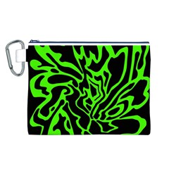 Green and black Canvas Cosmetic Bag (L)