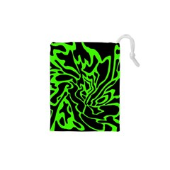 Green and black Drawstring Pouches (XS)