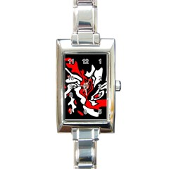 Red, black and white decor Rectangle Italian Charm Watch