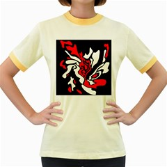 Red, black and white decor Women s Fitted Ringer T-Shirts