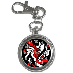 Red, black and white decor Key Chain Watches