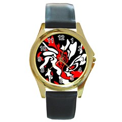 Red, black and white decor Round Gold Metal Watch