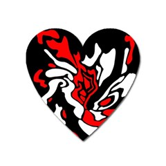 Red, black and white decor Heart Magnet