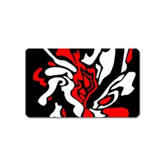 Red, black and white decor Magnet (Name Card)