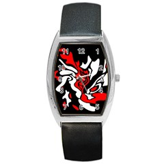 Red, black and white decor Barrel Style Metal Watch