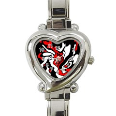 Red, black and white decor Heart Italian Charm Watch