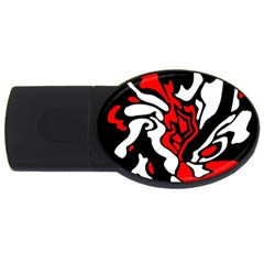Red, black and white decor USB Flash Drive Oval (4 GB)