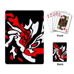 Red, black and white decor Playing Card