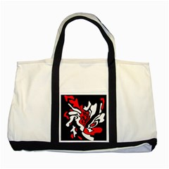 Red, black and white decor Two Tone Tote Bag