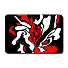 Red, black and white decor Small Doormat