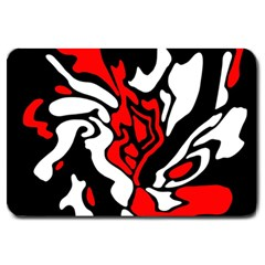 Red, black and white decor Large Doormat
