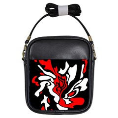 Red, black and white decor Girls Sling Bags
