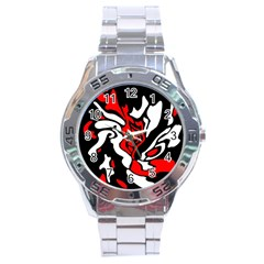 Red, black and white decor Stainless Steel Analogue Watch