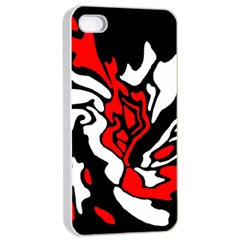 Red, black and white decor Apple iPhone 4/4s Seamless Case (White)