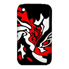 Red, black and white decor Apple iPhone 3G/3GS Hardshell Case (PC+Silicone)