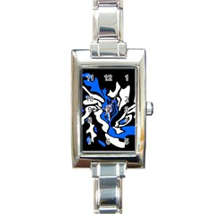 Blue, black and white decor Rectangle Italian Charm Watch