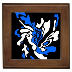 Blue, black and white decor Framed Tiles