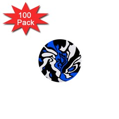 Blue, black and white decor 1  Mini Buttons (100 pack)