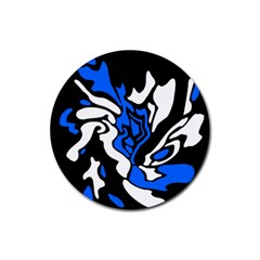 Blue, black and white decor Rubber Round Coaster (4 pack)
