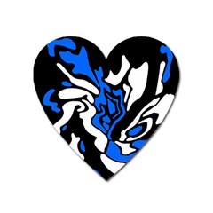 Blue, black and white decor Heart Magnet