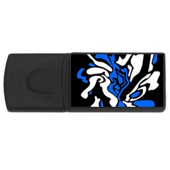 Blue, black and white decor USB Flash Drive Rectangular (1 GB)