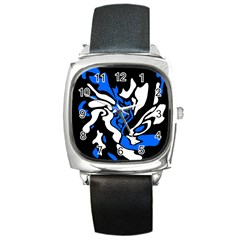 Blue, black and white decor Square Metal Watch