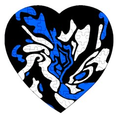 Blue, black and white decor Jigsaw Puzzle (Heart)