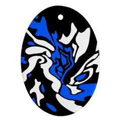 Blue, black and white decor Oval Ornament (Two Sides)