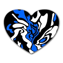 Blue, black and white decor Heart Mousepads