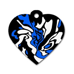Blue, black and white decor Dog Tag Heart (One Side)