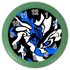 Blue, black and white decor Color Wall Clocks