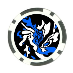 Blue, black and white decor Poker Chip Card Guards