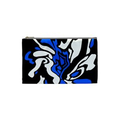 Blue, black and white decor Cosmetic Bag (Small)