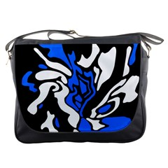 Blue, black and white decor Messenger Bags