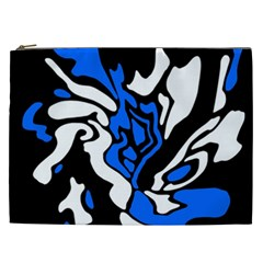 Blue, black and white decor Cosmetic Bag (XXL)