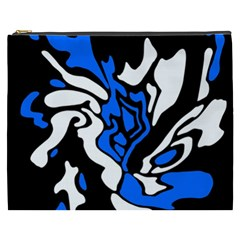 Blue, black and white decor Cosmetic Bag (XXXL)