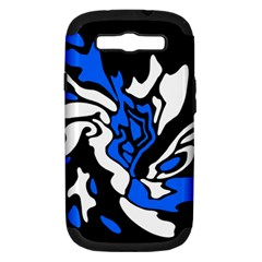 Blue, black and white decor Samsung Galaxy S III Hardshell Case (PC+Silicone)