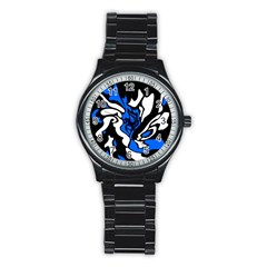 Blue, black and white decor Stainless Steel Round Watch
