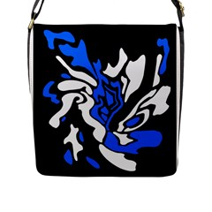 Blue, black and white decor Flap Messenger Bag (L)